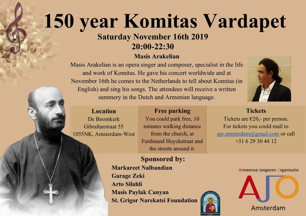 Concert on the occasion of the 150th anniversary of Komitas in Amsterdam on 16.11.2019 8Pm